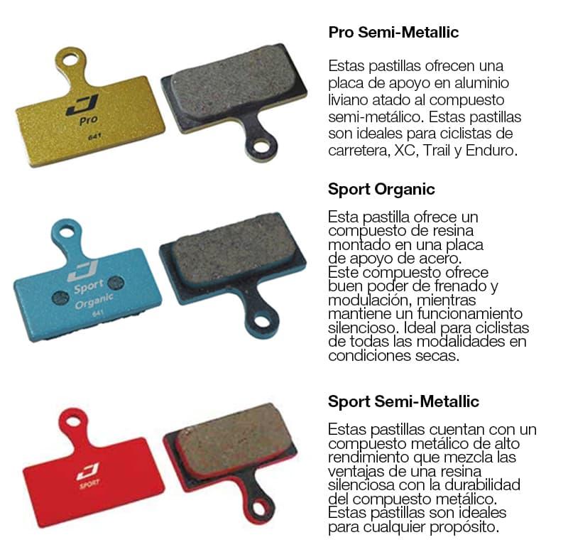 Pro Semi-Metallic, Sport Organic y Sport Semi - Metallic